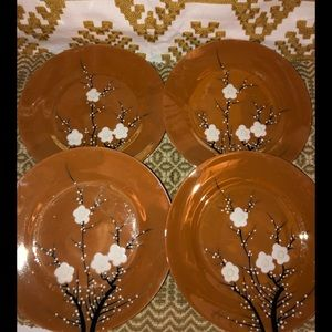 4 lusterware made in Japan hand painted plates